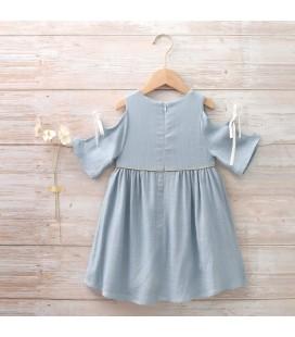 Dadati - Vestido azul tejido rústico para niña