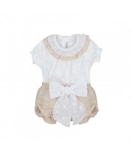 Calamaro Baby - Conjunto Cannes blanco y lino para bebé