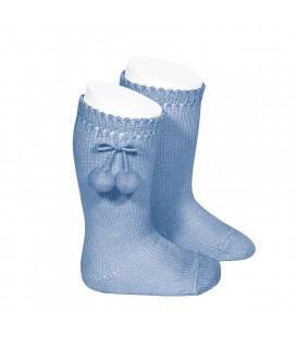 Cóndor - Calcetines altos perlé con borlas - Azulado