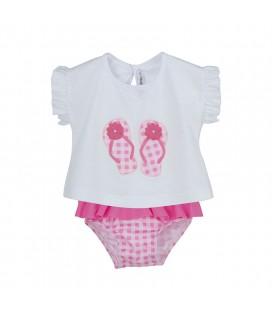 Calamaro Baby - Conjunto baño Chancletas rosa para bebé