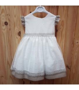 Charo - Vestido blanco roto y ceniza para niña