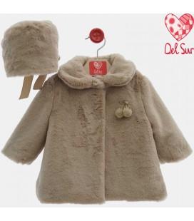 Del Sur - Abrigo pelo con capota cámel para bebé