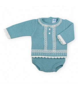 SARDON - Conjunto punto braguita bebé Iziar verde