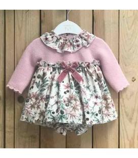 Valentina Bebés - Vestido tricot + pololo rosa empolvado