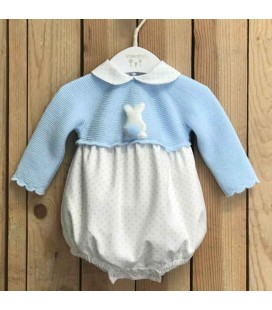 Valentina Bebés - Pelele tricot Rabbit celeste