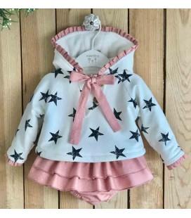 Valentina Bebés - Conjunto sudadera estrellas rosa empolvado