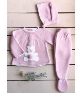Valentina Bebés - Conjunto punto Oso 3 piezas rosa empolvado
