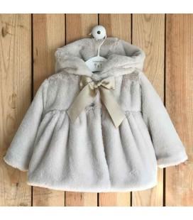 Valentina Bebés - Abrigo de pelo mutón con capota piedra