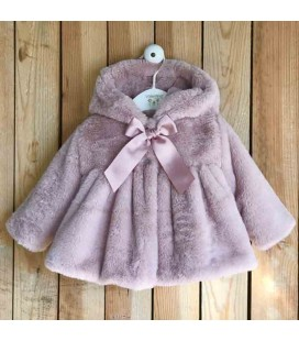 Valentina Bebés - Abrigo de pelo mutón con capota rosa empolvado