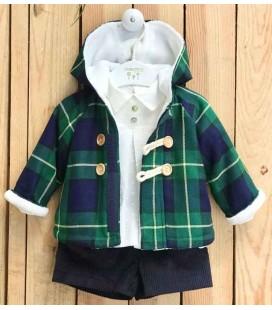 Valentina Bebés - Conjunto + chaquetón verde escocés