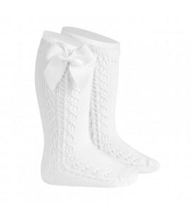 Cóndor - Calcetines altos calado lateral con lazo grosgrain - Blanco