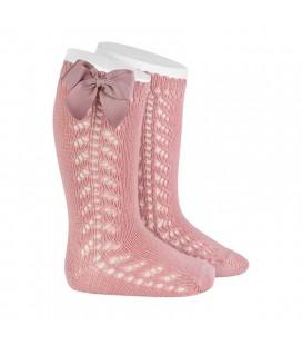 Cóndor - Calcetines altos calado lateral con lazo grosgrain - Rosa palo