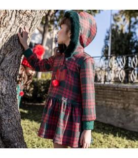 Nekenia - Vestido cuadros verdes y rojos para niña