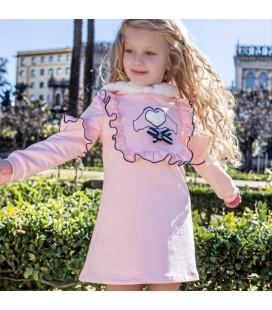 Nekenia - Vestido rosa corazón para niña