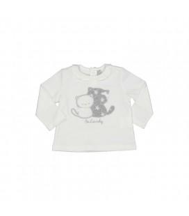 Birba - Camiseta beige gatitos para bebé