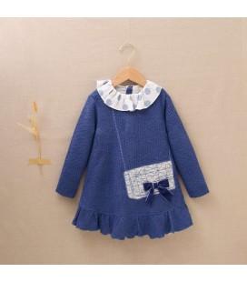Dadati - Vestido azul colección Tweed para niña