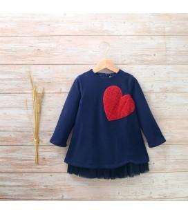 Dadati - Vestido Ruby azul marino corazón para niña