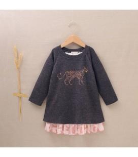 Dadati - Vestido paño gris estampado leopardo para niña