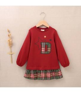 Dadati - Vestido Tartán granate para niña