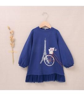 Dadati - Vestido Teddy azul marino para niña
