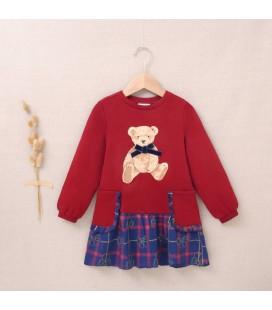 Dadati - Vestido Teddy granate para niña