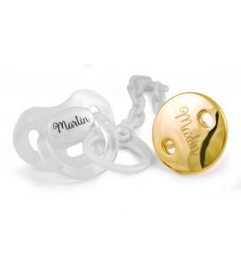 Pack chupete y cadena premium perla y dorado de Boann