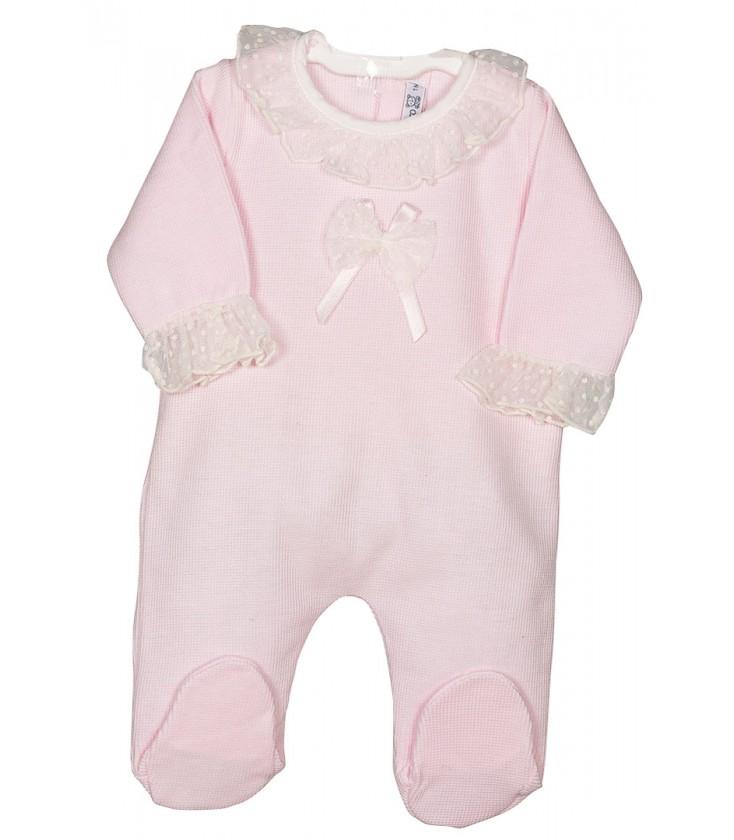 8a95894fd Pelele rosa con lazo para bebé de Calamaro - Adriels Moda Infantil
