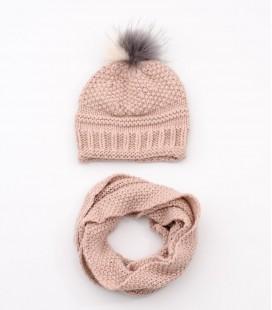Conjunto gorro pompón natural y bufanda rosa para niña
