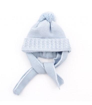 Gorro azul empolvado para bebé con bufanda incorporada