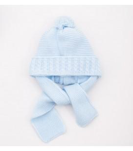 Gorro celeste para bebé con bufanda incorporada