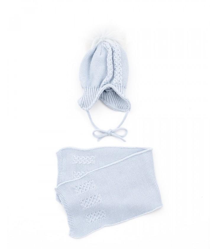 d15c9c3943246 Conjunto gorro pompón pelo natural y bufanda azul para bebé ...