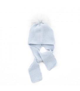 Gorro de punto azul con pompón de pelo natural para bebé