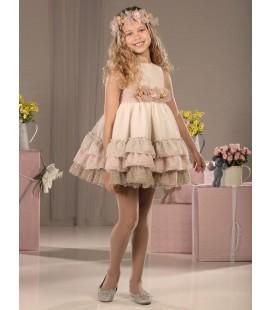 Vestido de ceremonia beige para niña de Marla