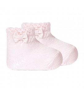 Calcetines tobilleros calados en perlé con lazo de Cóndor - Blanco