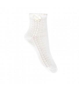 Calcetines tobilleros calado lateral y lazo de Cóndor - Nata