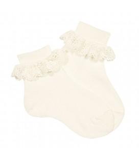 Calcetines tobilleros canalé y puntilla de Cóndor - Lino