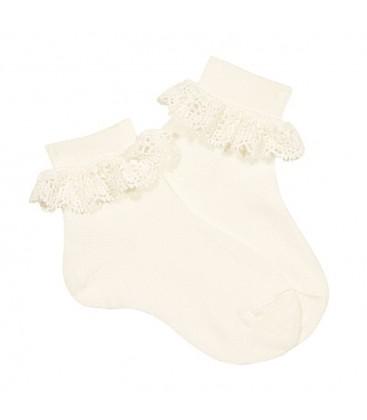 Calcetines tobilleros canalé y puntilla de Cóndor - Nata
