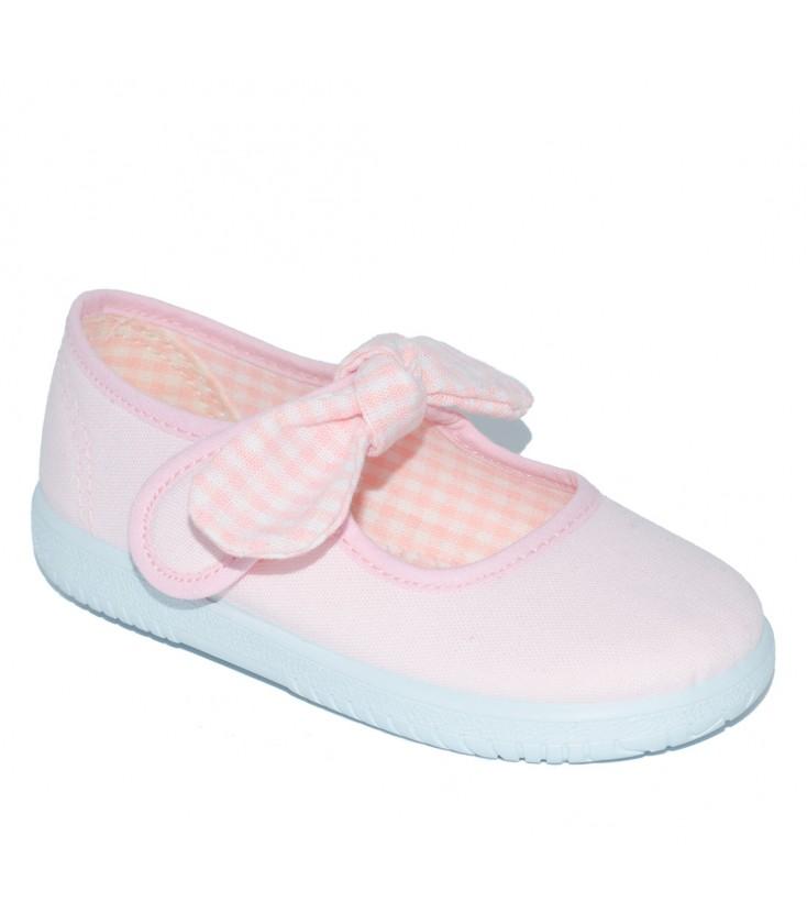 47b094bb4 Merceditas de lona rosa para niña de Vul-Peques - Adriels Moda Infantil