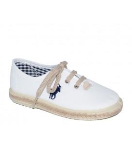 Zapato piqué blanco para niña de Vul-Peques