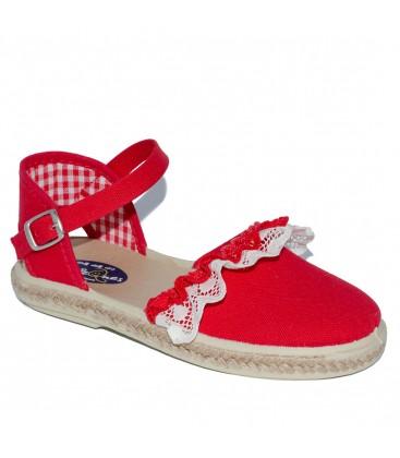 Sandalia para niña piqué rojo de Vul-Peques