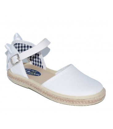 Sandalia para niña piqué blanco de Vul-Peques