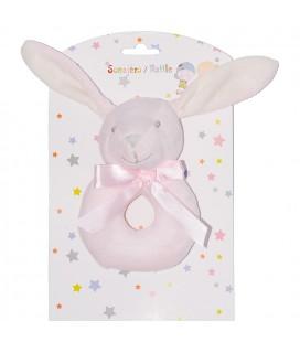 Sonajero para bebé conejito rosa