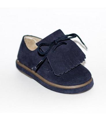 Zapato para niño serraje azul marino