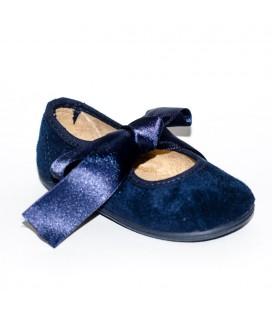 Merceditas piel azul marino para niña de Vul-Peques
