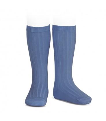Calcetines altos canalé básicos de Cóndor - Azul francia