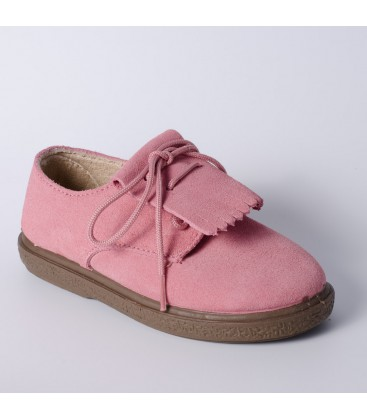 Blucher infantil en serraje rosa palo de Vul-Peques