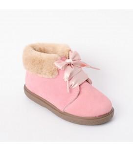 Bota para niña en serraje rosa palo de Vul-Peques
