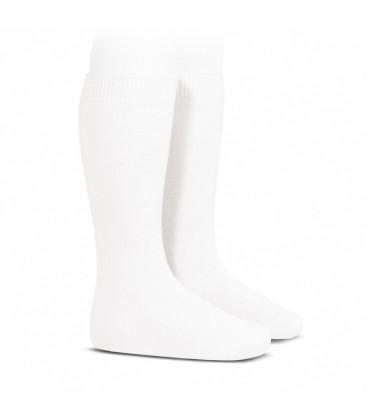 Calcetines altos básicos punto liso de Cóndor - Blanco