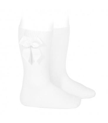 Calcetines altos algodón con lazo lateral de Cóndor - Blanco