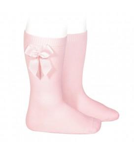 Cóndor - Calcetines altos algodón con lazo lateral - Rosa